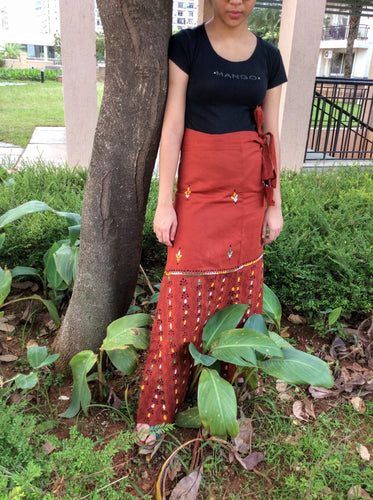 Earthy Brown Cotton Kantha  Wrap Skirt - Arteastri
