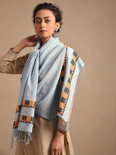 Load image into Gallery viewer, Elegant Powder Blue Handloom Cotton Eri Silk Stole - Arteastri