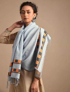 Elegant Powder Blue Handloom Cotton Eri Silk Stole - Arteastri