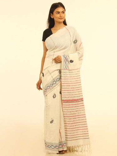 Elegant White Handloom Khesh Kantha Stitch Cotton Saree - Arteastri