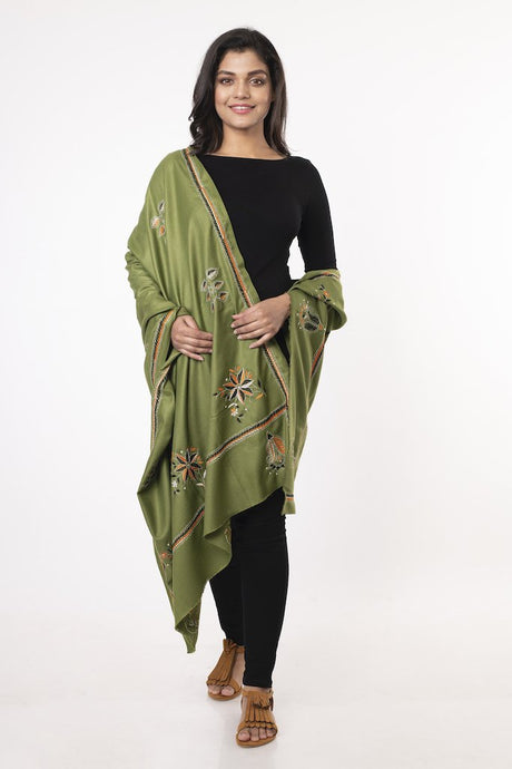 Green Floral Hand Kantha embroidered Shawl STOLES AND SCARVES Arteastri