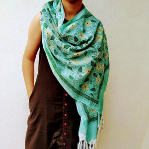 Green Floral Silk Cotton Kantha Stole STOLES AND SCARVES Arteastri