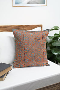 Green Red Handcrafted Kantha Cotton Cushion Cover Cushions Arteastri
