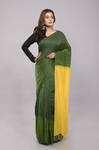 Green Yellow Handloom Woven Silk Cotton Shibori Saree - Arteastri