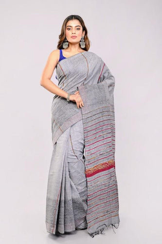 Grey Handloom Khesh Kantha Stitch Cotton Saree saree Arteastri