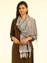 Load image into Gallery viewer, Grey Silk Cotton Kantha Stole - Arteastri
