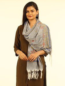 Grey Silk Cotton Kantha Stole - Arteastri