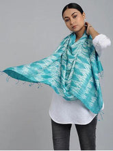 Load image into Gallery viewer, HandCrafted Blue Shibori Silk Stole - Arteastri