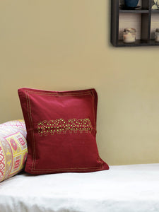 Handembroidered Kantha Maroon Yellow Cushion Cover - Arteastri