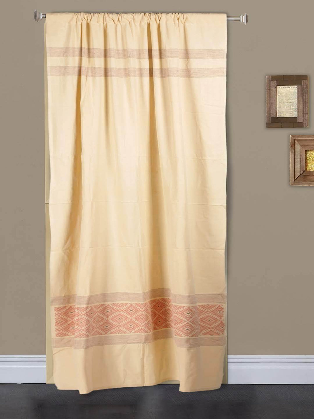 Handloom Cotton Beige Red Rod Pocket Door Curtain - Arteastri