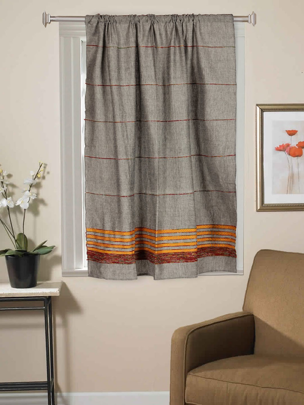 Handloom Cotton Khesh Grey Rod Pocket Window Curtain - Arteastri