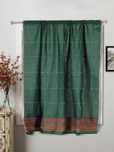 Load image into Gallery viewer, Handloom Cotton Khesh Kantha Green Rod Pocket Window Curtain - Arteastri
