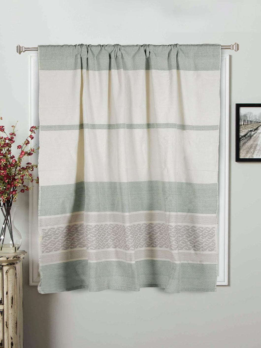 Handloom Cotton  Sage Green Rod Pocket Window Curtain - Arteastri