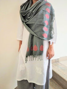 Handloom Grey Red Cotton Bengal Jamdani Stole - Arteastri