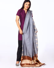 Load image into Gallery viewer, Handloom Grey Shibori Silk Dupatta - Arteastri