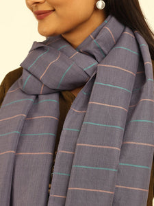 Handloom Grey Striped Cotton Wool Stole - Arteastri