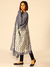 Load image into Gallery viewer, Handloom Grey Woven Shibori Cotton Dupatta - Arteastri