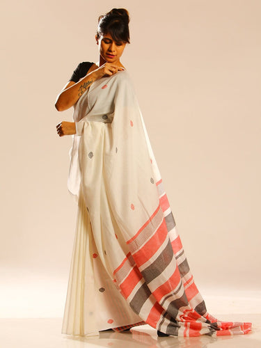 Handloom White Ruby Red Designer Sari - Arteastri
