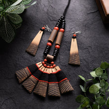 Load image into Gallery viewer, Handmade Black Red Bamboo Tribal Jewellery Set JEWELLERY Arteastri