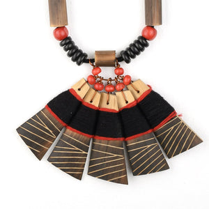 Handmade Black Red Bamboo Tribal Jewellery Set JEWELLERY Arteastri