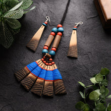 Load image into Gallery viewer, Handmade Blue Pink Bamboo Tribal Jewellery Set JEWELLERY Arteastri
