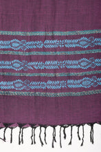 Load image into Gallery viewer, Handwoven Purple Blue Floral Khesh Kantha Stole STOLES AND SCARVES Arteastri