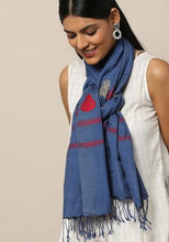 Load image into Gallery viewer, Indigo Red Handloom Eri Silk Stole - Arteastri