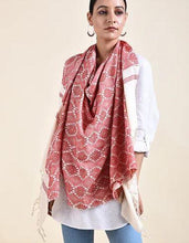 Load image into Gallery viewer, Ivory Red Cotton Eri Silk Stole - Arteastri