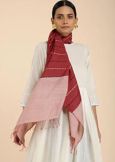 Jester Red Pink Cotton Eri Silk Stole - Arteastri