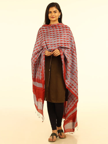 Just in Handloom Grey Red Shibori Silk Dupatta - Arteastri