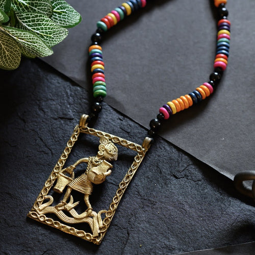Large Dokra Pitcher Man Pendant with Colourful Beads JEWELLERY Arteastri