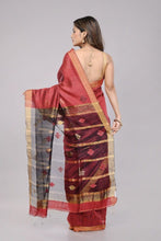 Load image into Gallery viewer, Maroon Black Handloom Matka Silk Jamdani Saree - Arteastri