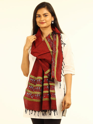 Maroon Blue Khesh Kantha Cotton Stole - Arteastri