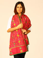 Load image into Gallery viewer, Maroon Green Cotton Kantha Stole - Arteastri