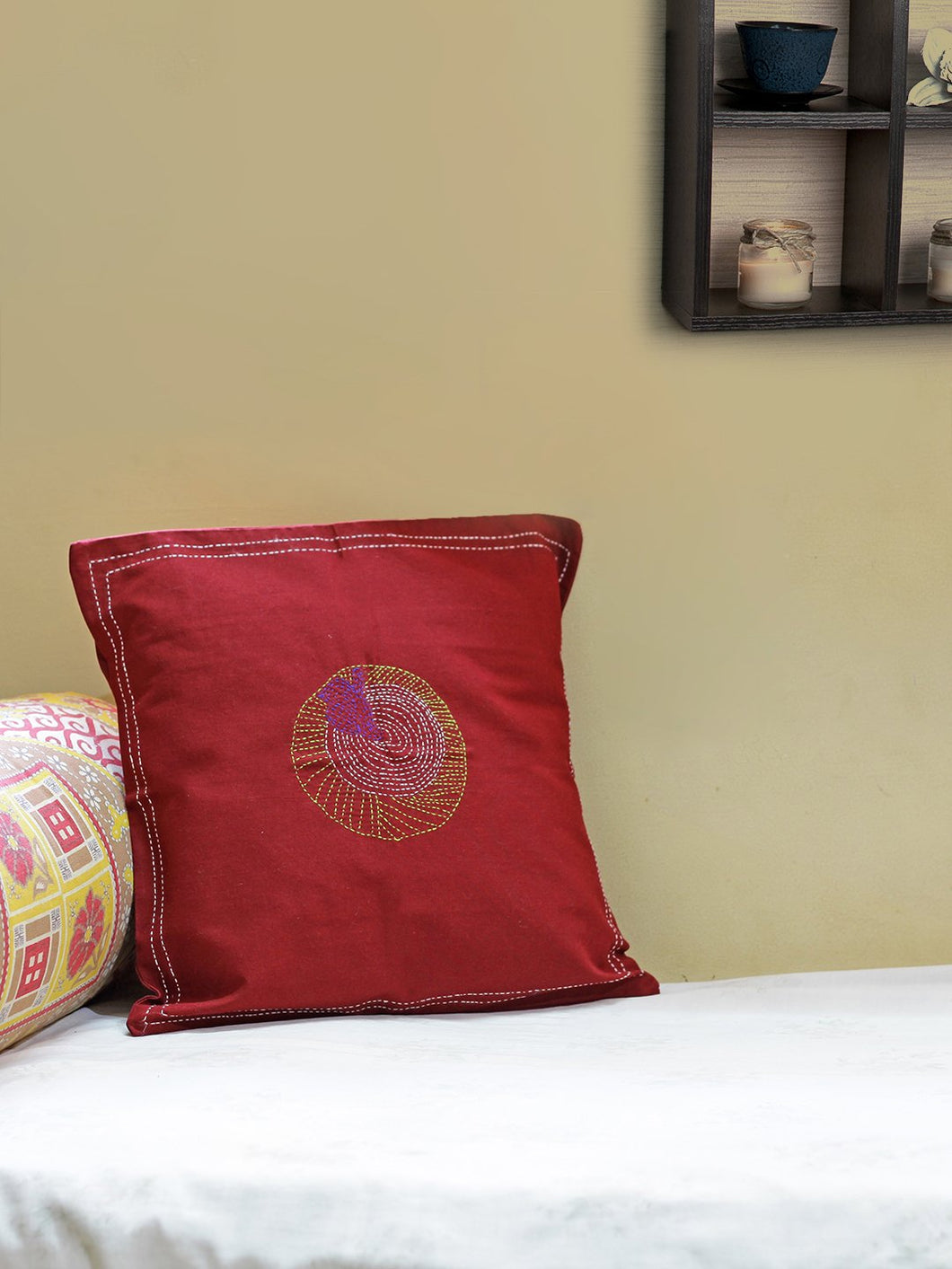 Maroon Handcrafted Kantha Cushion Cover - Arteastri