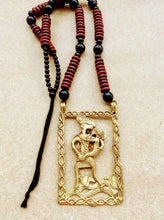 Load image into Gallery viewer, Maroon Handmade Large Dokra Mother Child Pendant - Arteastri