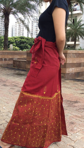 Maroon Yellow Cotton Kantha  Wrap Skirt - Arteastri