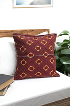 Load image into Gallery viewer, Maroon Yellow Handcrafted Kantha Cotton Cushion Cover Cushions Arteastri