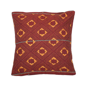 Maroon Yellow Handcrafted Kantha Cotton Cushion Cover Cushions Arteastri