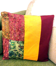 Load image into Gallery viewer, Maroon Yellow Silk Cotton Kantha Patchwork Cushion Covers - Arteastri