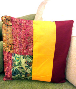 Maroon Yellow Silk Cotton Kantha Patchwork Cushion Covers - Arteastri