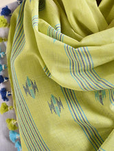 Load image into Gallery viewer, Olive Green Blue Woven Cotton Jamdani Stole - Arteastri