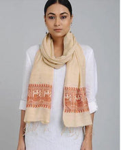 Load image into Gallery viewer, Peach Orange Eri Silk Baluchari Nawab Stole - Arteastri