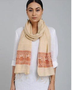 Peach Orange Eri Silk Baluchari Nawab Stole - Arteastri