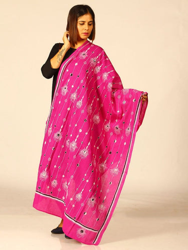 Pink Feathery Kantha Embroidered Cotton Dupatta - Arteastri