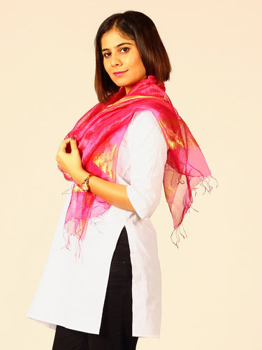 Pink Silk Linen Woven Stole with Fringes - Arteastri