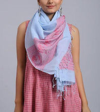 Load image into Gallery viewer, Powder Blue Red Cotton Woven Baluchari Stole - Arteastri