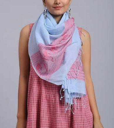 Powder Blue Red Cotton Woven Baluchari Stole - Arteastri
