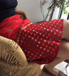 Red Embroidered Kantha Work Mini Wrap Skirt - Arteastri