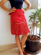 Load image into Gallery viewer, Red Embroidered Kantha Work Mini Wrap Skirt - Arteastri